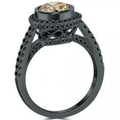 2.46 Carat Natural Fancy Cognac Brown Diamond Engagement Ring 18k Black Gold - Fancy Color Engagement Rings - Engagement - Lioridiamonds.com