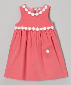 Take a look at this Pink Corduroy Daisy Swing Dress - Toddler & Girls by P'tite Môm on #zulily today!