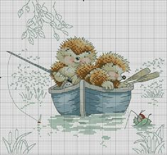 Hedgehogs fishing