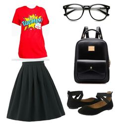 I Teach Skirt Outfit by ladonnawelch on Polyvore featuring polyvore fashion style clothing