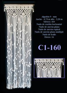 Ancho - 0,73 m alto - 2,20 m Metros: 410Nudo de cordón horizontal Nudo de zurrón planoNudo de zurrón espiralNudo de zurrón plano multiple Nudo de