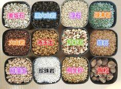 # 無土介質 - 不含土壤,幾乎不含營養素 - 人造無機如發泡煉石、真珠石 Perlite、蛭石、保綠人造土。 所有礦物類植料都不含氮。◾盆土表面放石礫可穩固植株、減少蒸散,澆水時培養土也不至濺出。 ⚫ 礫材:發泡煉石 》穩定性高,可以和細粒徑材質拌合以增加通氣性,適用於長期作物:由粘土混合有機質團粒經高溫燒結而成,因有機質氧化而留下許多細微孔隙,粒子大小及形狀不規則,一般可製成 8~45 網目過篩分級,因此容重、通氣、保水性也因大小分布而不同。 ⚫ 蛭石 》通氣、保水保肥均極佳,但結構鬆散、容易破碎,不適合與土壤混用:類雲母系的矽酸鹽礦以 760-1,000℃ 加熱膨脹所得。片狀結構,薄片間吸水能力極強,容水量 37%,通氣孔隙 43%,pH 6.4,卻不含礦物元素,陽離子交換能力可達 2.7me/100ml,pH 7.5,總體密度約 0.1g/cc。 ⚫ 珍珠石 : 疏鬆,透氣、排水 ¿= 石灰岩末、屑:降低酸性 (+ 促進排水。 ⚫ 蛋殼&蠔殼 : 降低酸性、幫助排水。 ⚫ 煤炭 : 墊底可減少用土、增加排水,吸收過多礦物質和廢物、降低酸化,維持土質良好 。 Green
