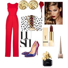 red by  on Polyvore featuring polyvore fashion style BCBGMAXAZRIA Christian Louboutin GEDEBE Chanel Marc Jacobs Charlotte Tilbury