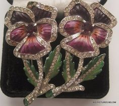 RARE Vintage Brooch Pin Signed CORO DUETTE Enamel Flower DRESS FUR CLIP Pansy