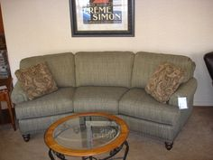 Smith Brothers 227 Slightly Curved Sofa With Sloping Track