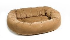 Platinum Microvelvet Donut Pet Bed - Cashew Suede (Saddle - Small) ** Click image for more details.
