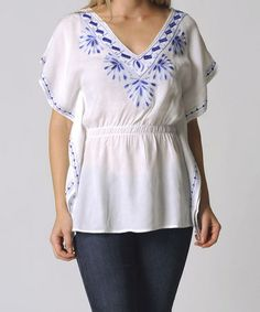 Another great find on #zulily! Blue & White Embroidered Elastic-Waist Tunic #zulilyfinds