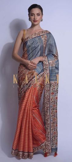 Buy Online from the link below. We ship worldwide (Free Shipping over US$100)  Click Anywhere to Tag Beige And Orange Half And Half Saree In Silk With Geometric, Stripes And Floral Print Online - Kalki Fashion Beige and orange half and half saree in silk with geometric and stripes print on the pleats.The pallu adorned with floral and checks motifs