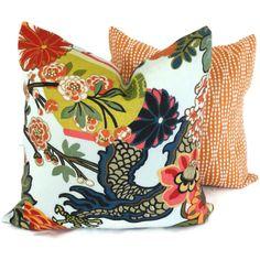 Aquamarine Schumacher Chiang Mai Dragon Pillow Covers by PopOColor, $85.00