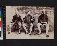 """Group of Chinese ministers, China, ca.1900 :: International Mission Photography Archive """"Lo Yat San, native minister, Lau Ha Chuen, native minister and Kan-a-Kwong, native candidate for ministry."""""""
