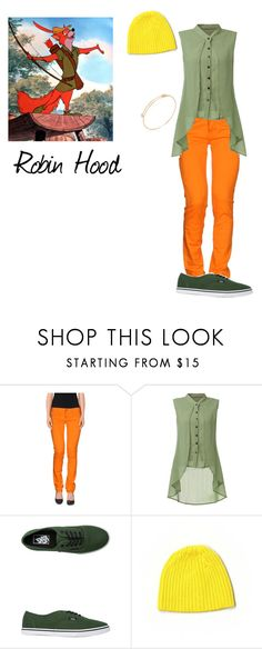 """""""Robin Hood"""" by michdrpenguin ❤ liked on Polyvore featuring Disney, FRACOMINA, Vans and Club Monaco"""