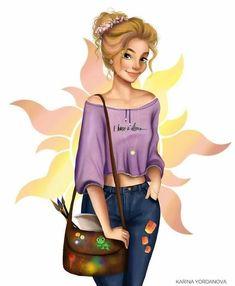 Modern Rapunzel 🏵️ (I imagine her as an art student 🎨) . Disney Princess Fashion, Disney Princess Drawings, Disney Princess Art, Disney Rapunzel, Princess Rapunzel, Disney Fan Art, Disney Drawings, Disney Girls, Walt Disney