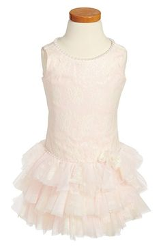 Biscotti Shimmery Lace Drop Waist Dress (Toddler Girls) available at #Nordstrom for S