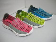 1 Karyn - W - Karyn fantastic lightweight elastic woven casual. Perfect beach or travel shoe. Available in Pink/Grey, Blue/Grey and Lime/Grey. Travel Shoes, Walking Shoes, Winter Wardrobe, Pink Grey, Different Styles, Casual Shoes, Lime, Vans, Slip On