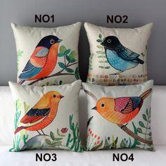"""18 """" praça Pastoral aves impresso Cotton Linen capa de almofada Ikea decorativo descanso de lance sofá de casa de carro cadeira fronha HD334 alishoppbrasil"""