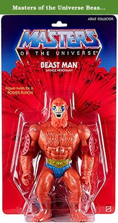 """Masters of the Universe Beast Man Exclusive 12"""" GIANTS Action Figure. Faithful recreations of the vintage MOTU figures in 12 scale! Each figure has a twist waist power punch, rubber band legs, and vintage-style accessories. They come on an oversized vintage-style blister card featuring watercolor cross-sell art from 1982. Giant Beast Man comes with a whip, and removable armor and elbow guards."""