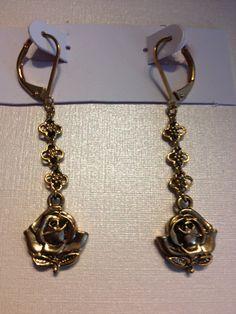 Dangling Rose Pierced Earrings Gold Tone Three by vintagerepublic1, $19.00