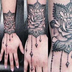 What does cuff tattoo mean? We have cuff tattoo ideas, designs, symbolism and we explain the meaning behind the tattoo. Sexy Tattoos, Feminine Tattoos, Trendy Tattoos, Hand Tattoos, Girl Tattoos, Tatoos, Lace Tattoo Design, Tattoo Designs Wrist, Lace Design