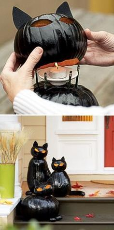 Boo-tiful Porch Halloween Ideas and Patio Inspiration Make your entry glow with fat cat Halloween idea made from stacked pumpkins (and mini-pumpkin paws) – Meow! More Boo-tiful Porch Halloween Ideas and Patio Inspiration on Frugal Coupon Living. Halloween Veranda, Casa Halloween, Theme Halloween, Outdoor Halloween, Halloween Projects, Diy Halloween Decorations, Holidays Halloween, Halloween Costumes, Disney Halloween