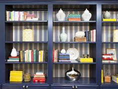 Striped wallpaper behind navy built-ins. Love this!!! http://www.hgtv.com/designers-portfolio/room/contemporary/dining-rooms/1789/index.html#/id-9018?soc=pinterest