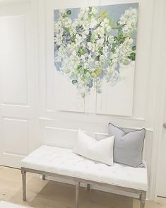 Entryway, foyer, floral painting, bench, traditional home , Benjamin Moore Simply white