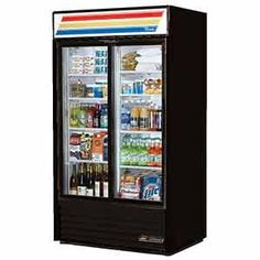 """#True Glass Door Merchandiser known as a Slide Door Refrigerator has 2 Self-closing Doors that are Counter Balanced for Smooth Positive Closing, Low """"E"""" Double P..."""