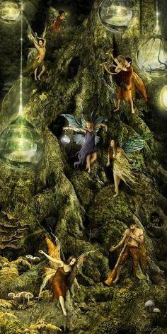*+*Mystikal Faerie Folke*+*...Tree Faeries...By Artist Unknown...