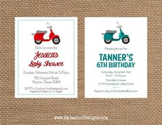 VESPA SCOOTER Birthday  Baby  Bridal Shower  by BabadooStationery