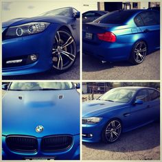 BMW E90 wrapped in Matte Blue by GTA CAR WRAP. 647.949494.4