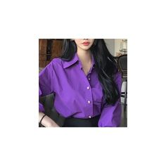 Plain Shirt (1.140 RUB) ❤ liked on Polyvore featuring tops, shirts, women, shirt top, purple shirt and purple top