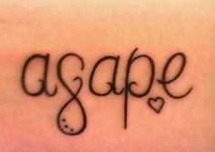 Agape tattoo! Agape its Greek for eternal love or selfless love. Infinity symbol as the G.