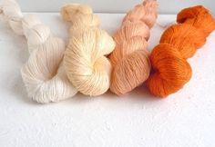 Set of 4 linen skeins  orangecream collection by YarnStories, €16.80