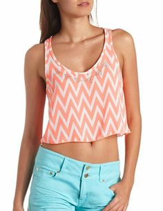 Embellished Chevron Swing Crop Top: Charlotte Russe