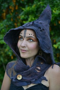 RESERVED For J J - Not For Sale - Felt Melted Witches Full Moon Shadow Tree Pixie Pointed Neck Cowl And Hooded Hat OOAK on Etsy, $176.00