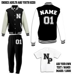 Black custom printed varsity sweatsuit tracksuit with free  <