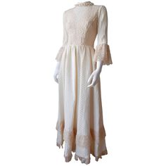 Preowned 1970s Mexican Wedding Dress ($695) ❤ liked on Polyvore featuring dresses, wedding dresses and multiple