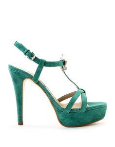 Sandalias t-bar Joya mariposa verde esmeralda.  Me encanta el detalle de la mariposa
