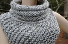 Katniss Cowl Huntress Vest Hand Knit in Neutral Gray Marble