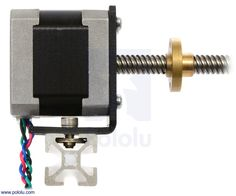 Pololu - NEMA 17 stepper motor with lead screw mounted with a stamped aluminum L-bracket.