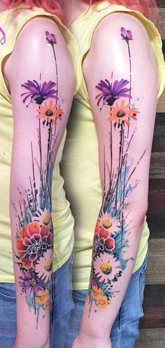 nice Watercolor tattoo - Watercolor flower sleeve tattoo - Flower tattoos could have different meanings d. Tattoo Girls, Girls With Sleeve Tattoos, Best Sleeve Tattoos, Tattoo Sleeve Designs, Flower Tattoo Designs, Girl Tattoos, Calf Sleeve Tattoo, Tattoo Sleeves, Trendy Tattoos