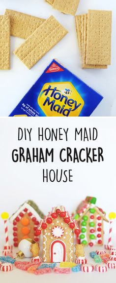 Looking for a fun winter activity for your annual holiday party? Grab some colorful embellishments—like Sour Patch Kids—and set up a decorating station for younger party guests to make these DIY Graham Cracker Houses! Using HONEY MAID Graham Crackers, you Christmas Crafts For Kids, Christmas Activities, Christmas Goodies, Christmas Treats, Christmas Traditions, Winter Christmas, Holiday Crafts, Holiday Fun, Christmas Holidays