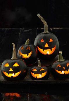 Matte black pumpkins #halloween #decor