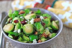 brussels sprout, cranberry, pecan, and blue cheese salad...a perfect Christmas dinner side dish!