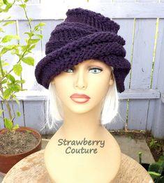 Oversized Knitting Boho Beanie Hat  Womens Knit Hat Womens Hat Trendy Purple Hat OMBRETTA Knitting Beanie Hat by strawberrycouture by #strawberrycouture on #Etsy