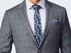 Men's Custom Suits - Charcoal with Purple Windowpane Suit   INDOCHINO