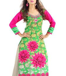 Buy Green and Pink Cambric Cotton Floral Printed Kurti party-wear-kurti online