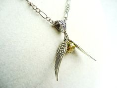 Harry Potter Golden Snitch Necklace  Gold by ViperCoraraDesigns