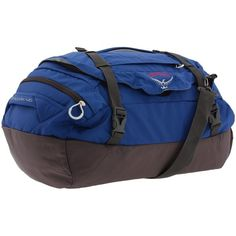 Osprey Transporter 46 ($70) ❤ liked on Polyvore featuring bags, alpine blue, duffle bags, mesh bag, mesh gym bag, top handle bag, padded duffle bag and duffle bag