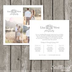 Photography Marketing Price List Template Card - Logo Studio Pricing Guide for Photographers - Advertising Price Sheet Flyer