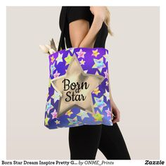 Shop Born Star Dream Inspire Pretty Galaxy Sky Tote Bag created by ONME_Prints. Shopping Bag Design, Shopping Bags, Galaxy Background, Above The Clouds, Elephant Gifts, Personalized Gifts, Reusable Tote Bags, Inspire, Fancy
